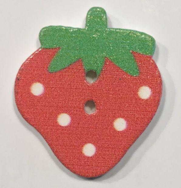Holzknopf bunte Erdbeere