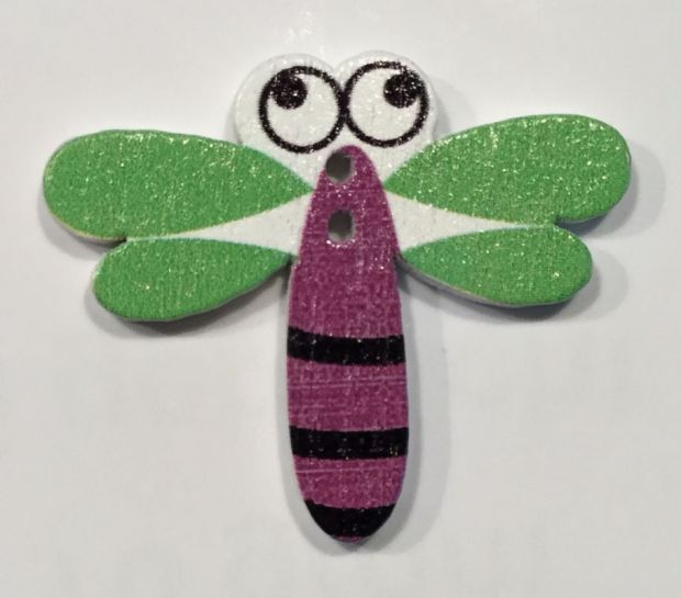 wooden button dragonfly