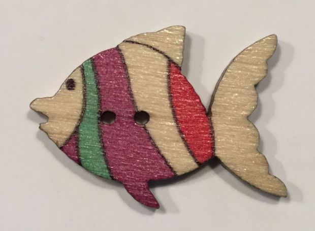 wooden button fish