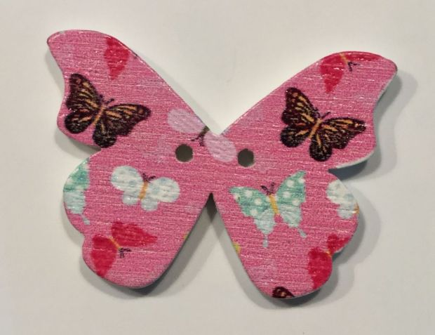 wooden button large butterfly
