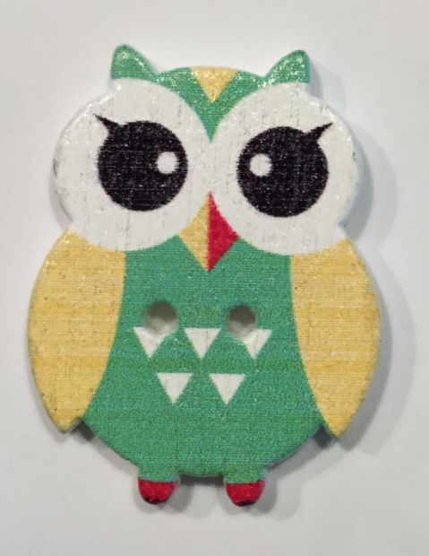 wooden button owl