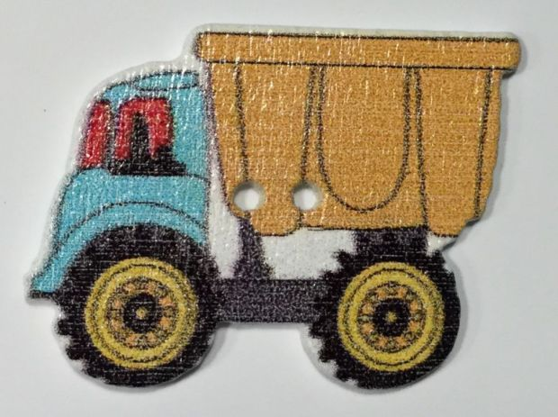 wooden button dump truck