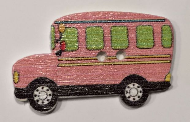 wooden button classic bus