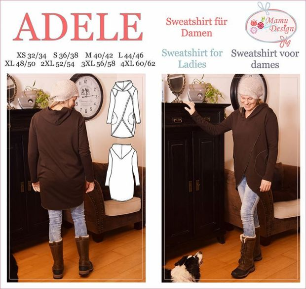 ADELE E-Pattern Sweatshirt, Long-Shirt for Woman