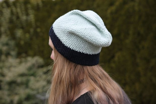 handcrochted mint beanie