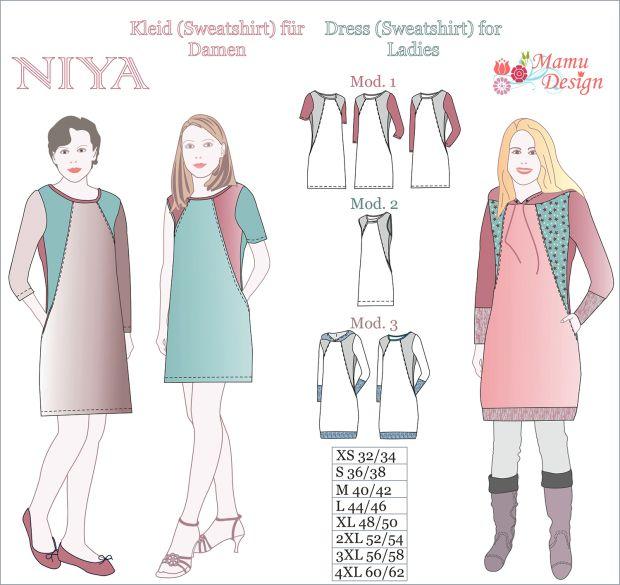NIYA Ladies Pattern - Sewing Instructions Dress Sweatshirt Tunic