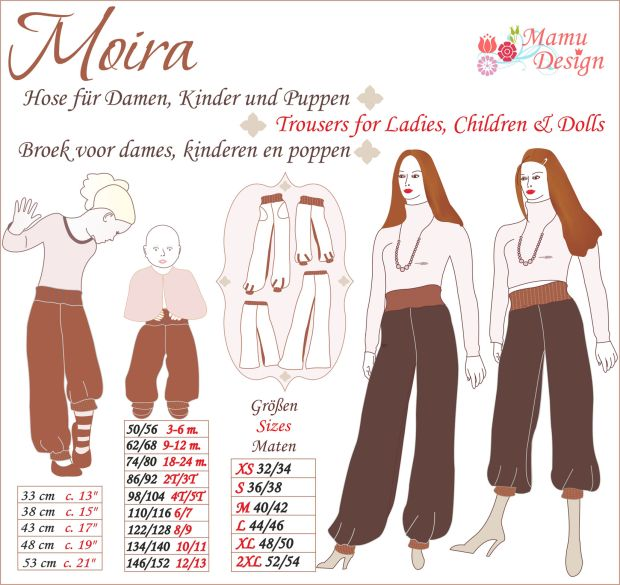 E-Pattern Women   Girls   Babies MOIRA - Sewing Instructions for Trousers, Pants with Long or Three-Quarter Length