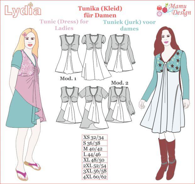 E-Pattern LYDIA Tunic, Dress, Shirt, Top for Ladies