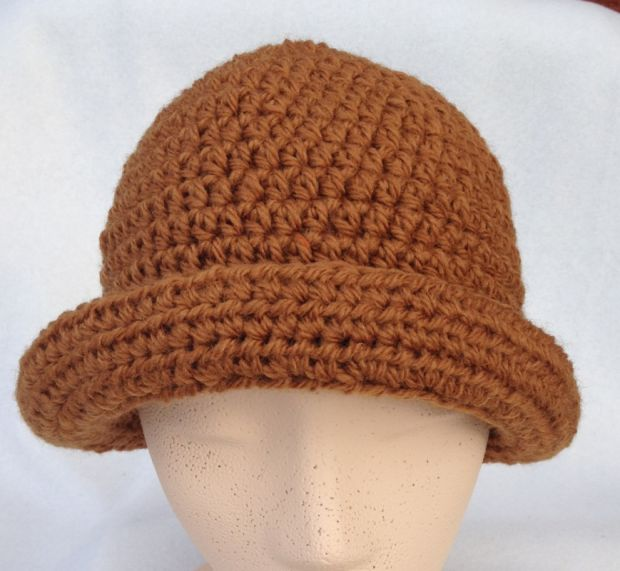 crocheted brown hat
