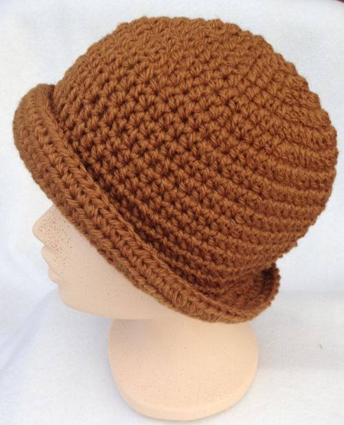 crocheted brown hat