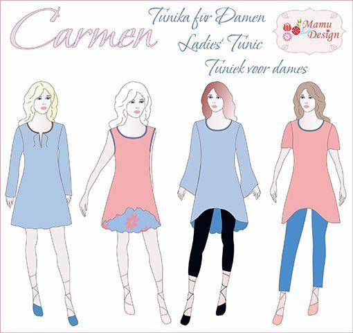 Carmen E-pattern Tunic Dress Shirt Ladies