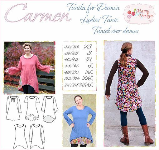 Carmen E-pattern Tunic Dress Shirt Ladies