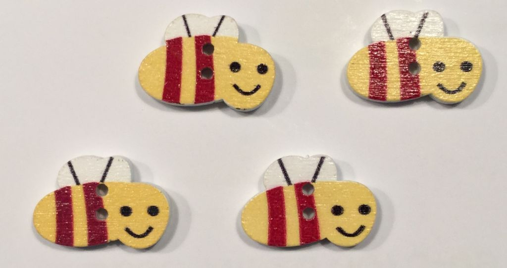 wooden button bee
