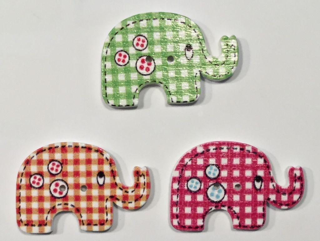 wooden button elephant