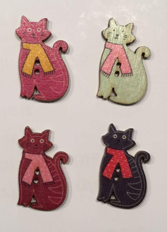 wooden button cat