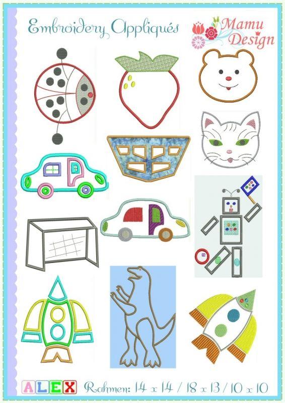 Embroidery Designs (Appliqu?s) Alex, 6 x 10 / 4 x 4 hoop