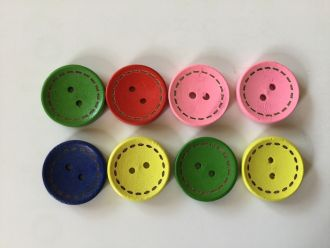 8 colored wooden buttons