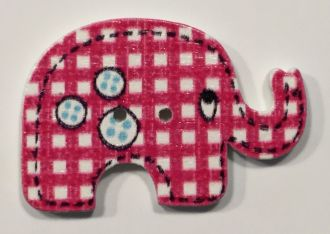 wooden button elephant