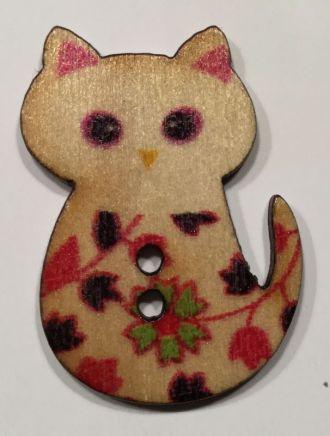 wooden button sitting cat