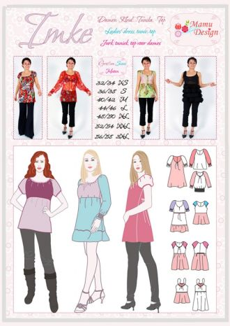 IMKE e-pattern for woman, blouse, top, tunik, dress