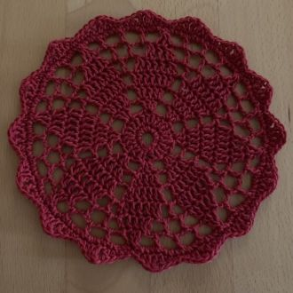 crochet cover darkred