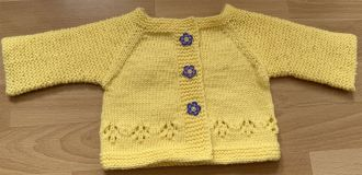 Small cardigan with blue buttons