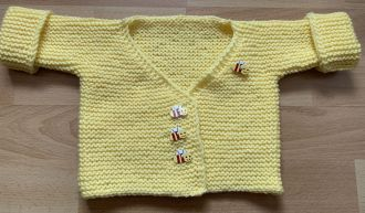 Baby Cardigan with Little Bee Buttons