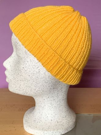 Hand Knitted Classic Yellow Kids Hat