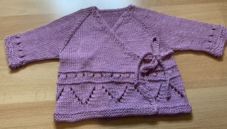 Hand Knitted Baby Wrap Jacket Purple with Tie Straps