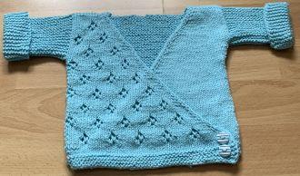 Baby Wrap Jacket Ajour Pattern Turquoise