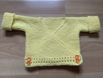 baby wrap jacket soft yellow with orange buttons
