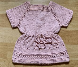hand knitted baby dress old pink with 3 buttons