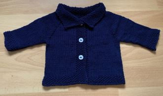 Dark Grey Baby Jacket Double Breasted with Shawl Collar and Four Buttons