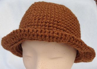 crocheted medium brown hat