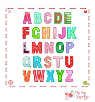 Buchstaben ABC Applikationen Stickmaschinen