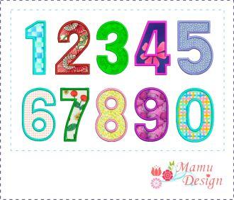 Zahlen 0-9 Applikationen für Stickmaschinen