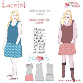 E-Pattern LORELEI Knee-length Dress, Tunic for Ladies